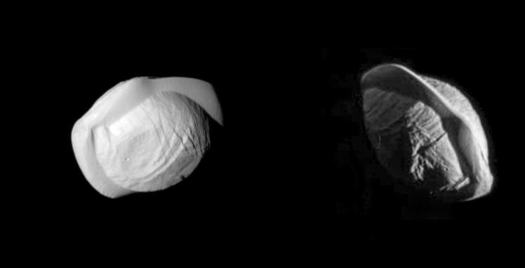 2017 : Survol de Pan (satellite de Saturne) par la sonde Cassini Pancassini-58c9
