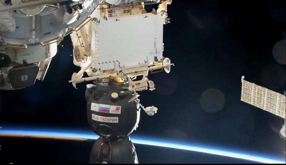 Trois astronautes rejoignent l'ISS dans un Soyouz baptisé Gagarine